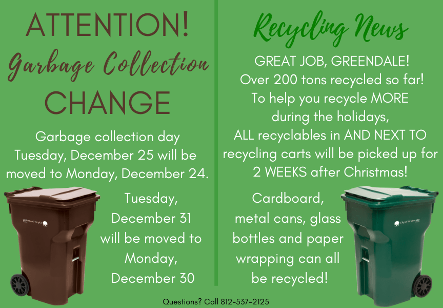 Holiday Garbage and Recycling Schedule